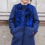 Cappotto con persiano tinta blu