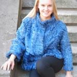 Giacca in agnello persiano azzurro